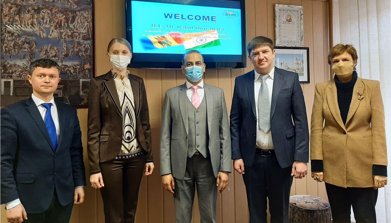 La ULIM s-a aflat în vizită de documentare E.S. Rahul Shrivastava, Ambasadorul Extrordinar și Plenipotențiar al Republicii India în Republica Moldova